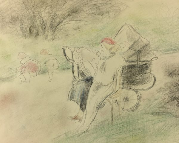 Paris, France Original Art - Paris Garden, Gabriel Spat (1890-1967), C.1930