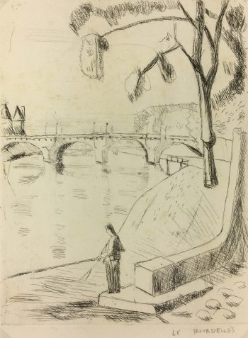 Paris, France Original Art - La Seine, H. Le Bourdelles, C.1950