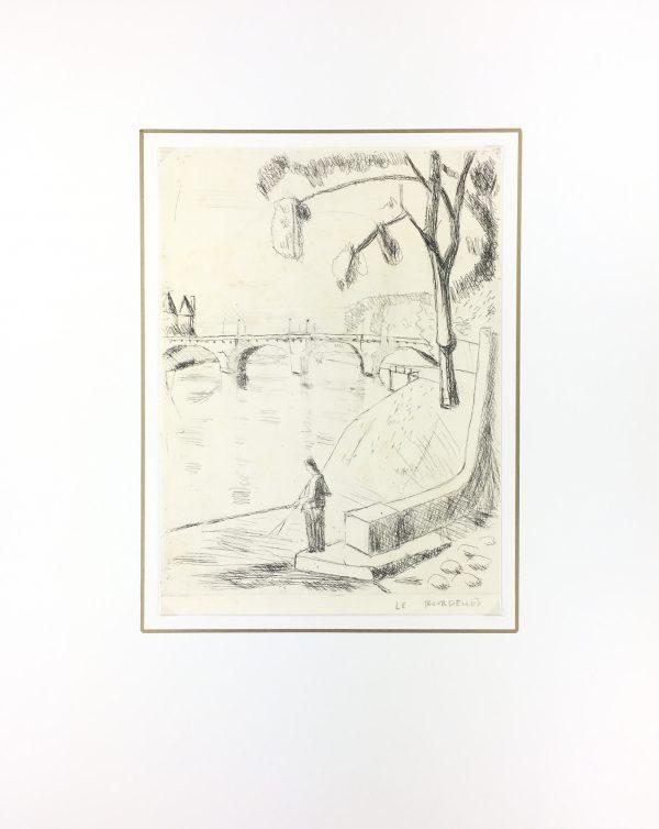 Paris, France Original Art - La Seine, H. Le Bourdelles, C.1950