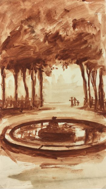 Paris, France Original Art - Luxembourg Gardens, C.1950
