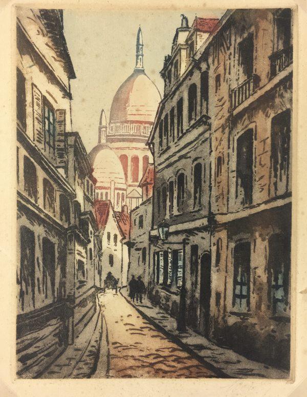 Paris, France Original Art - Montmartre, Signed LR, C.1920