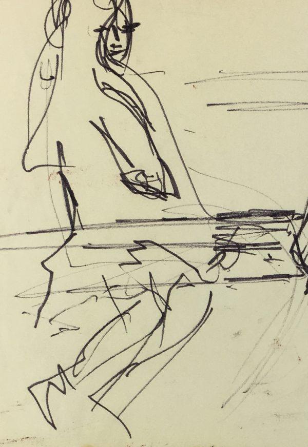 Paris, France Original Art - Paris Bench, JB Grancher (1911-74), C.1950
