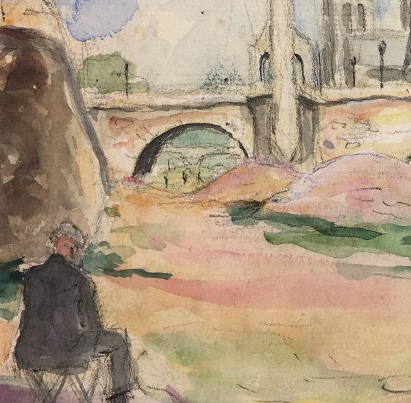 Paris, France Original Art - Watercolor - Paris, C.1950