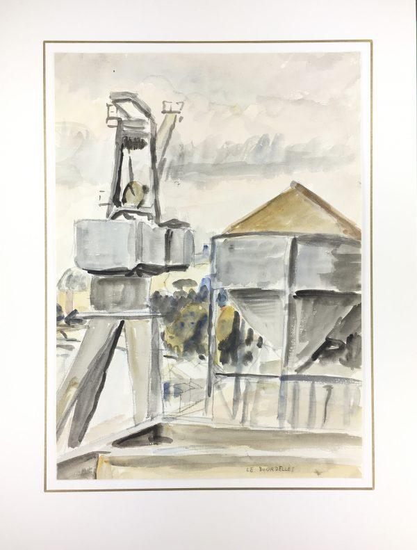 Paris, France Original Art - Crane by the Seine, H. Le Bourdelles, C.1960