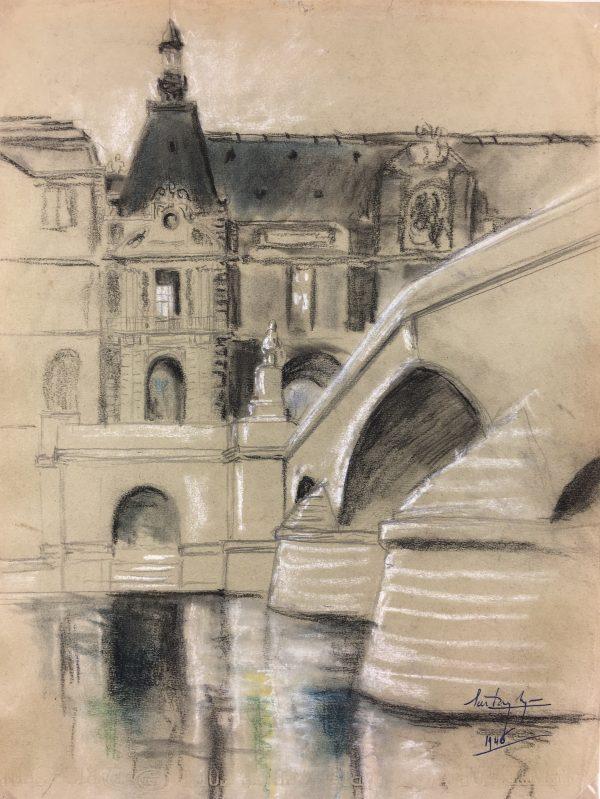 Paris, France Original Art - Port Neuf, Signed, 1946