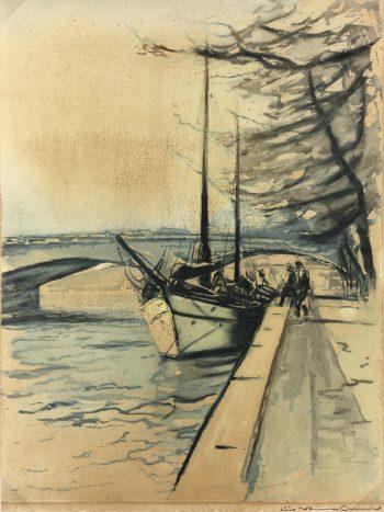 Paris, France Original Art - Aquatint - Seine, Signed, C.1950