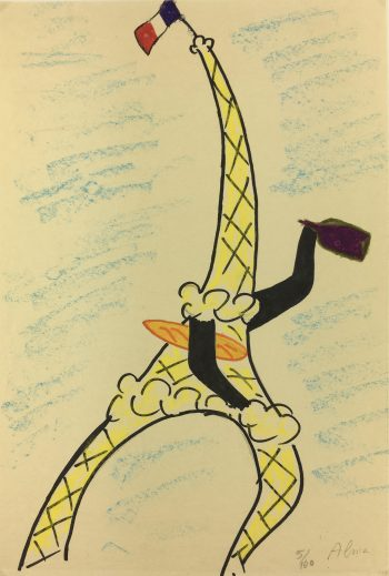 Paris, France Original Art - Eiffel Tower, Alma, C.1950