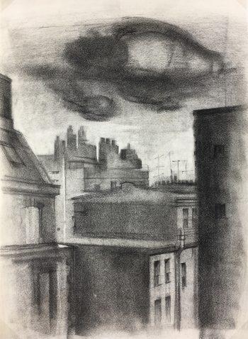 Paris, France Original Art - Charcoal - Paris Rooftops, Pollasson, 1990s