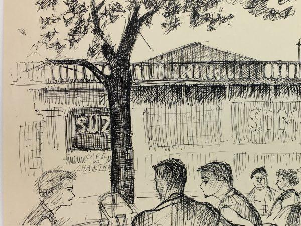 Paris, France Original Art - Paris Cafe, Andre Lafond, 1955