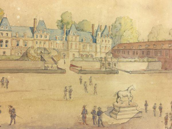Paris, France Original Art - Chateau de Fontainebleau, P. Bouisin, 1903
