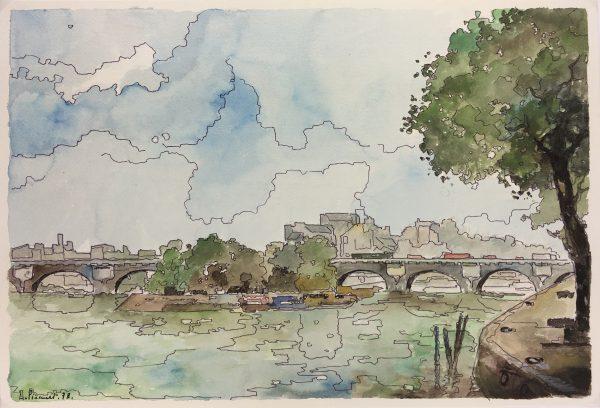 Paris, France Original Art - Pont Neuf, Signed , 1978