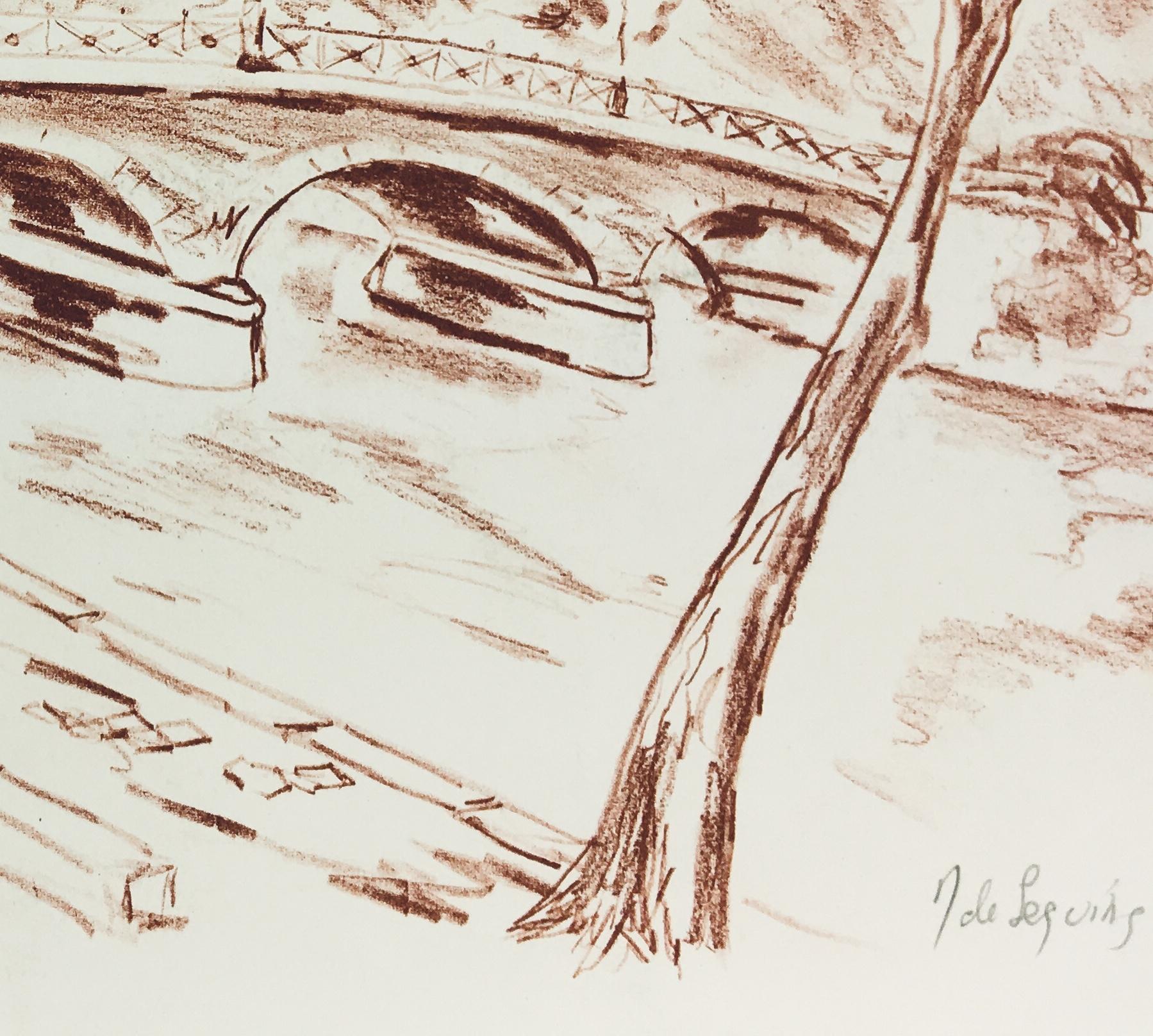 Paris, France Original Art - Pont de L' Archeveche, de Seguing, c.1970