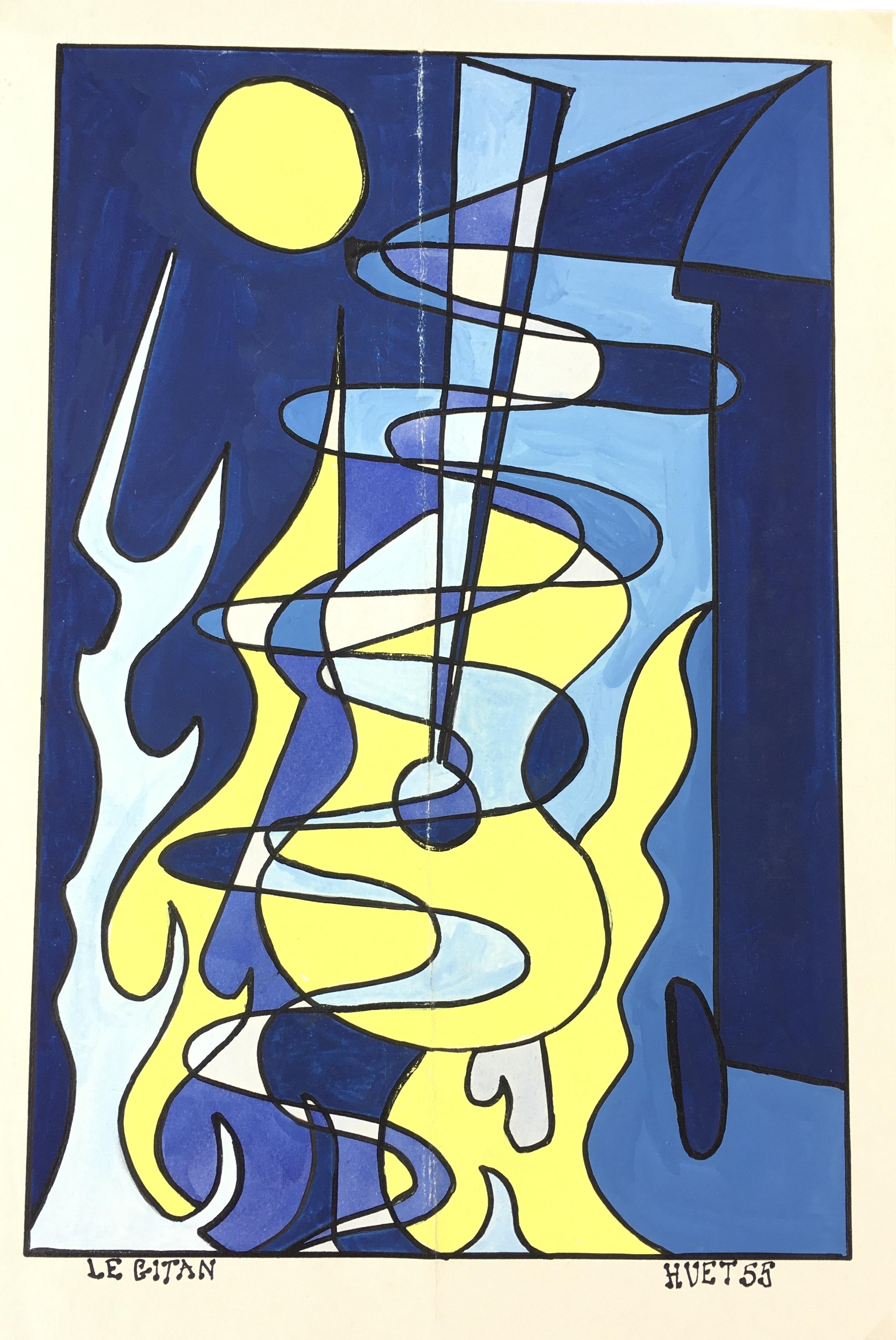 Performance Original Art - Midnight Guitar, Huet, 1955