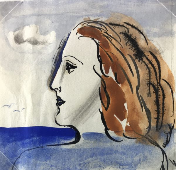 Portraits Original Art - Seascape Woman, Albert Viale, C.1940