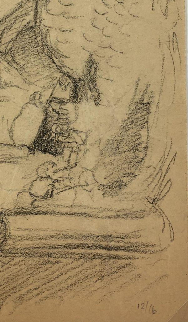 Portraits Original Art - Drawing Reading, Emile Cravoisier, 1916