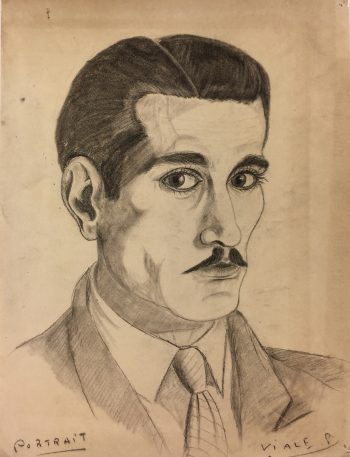 Portraits Original Art - Artist Self Portrait, Albert Viale, C.1930