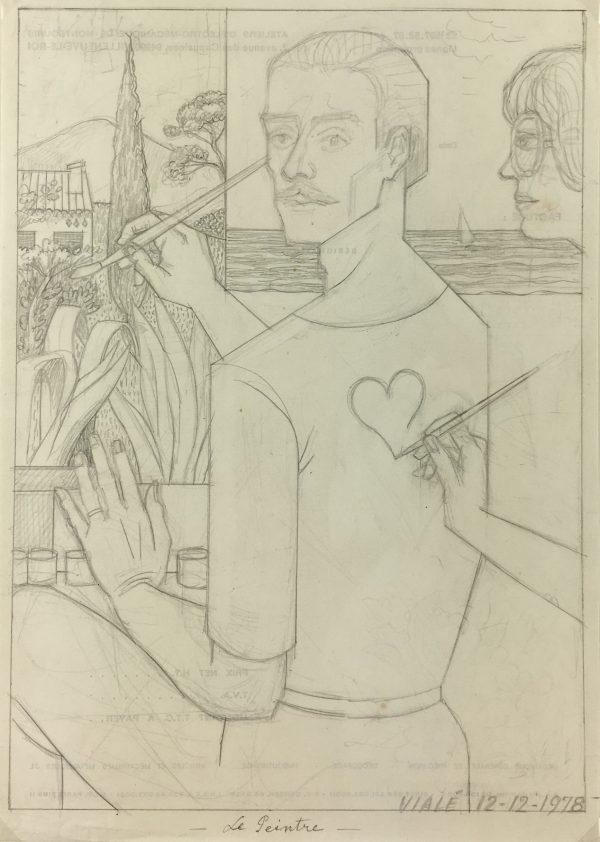 Portraits Original Art - Artist Self Portrait, Albert Viale, 1978