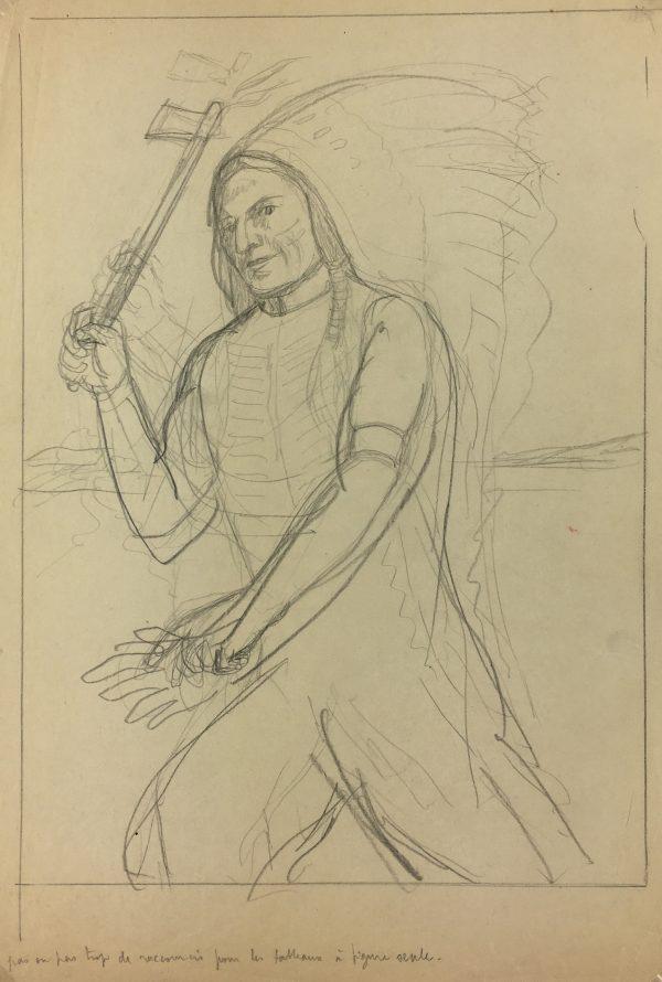 Portraits Original Art - American Indian , Albert Viale, C.1930