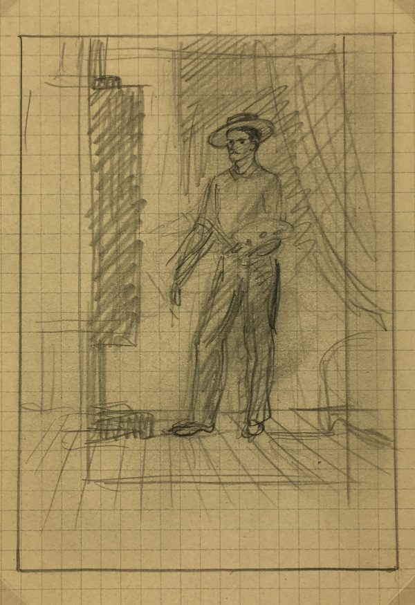 Portraits Original Art - Artist Self ortrait C.1930, Albert Viale,