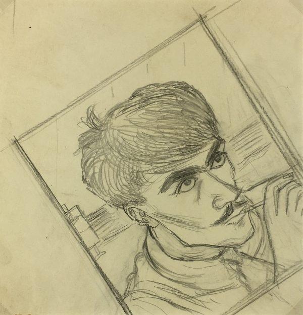 Portraits Original Art - Artist Self Portrait, Albert VIale, C.1940