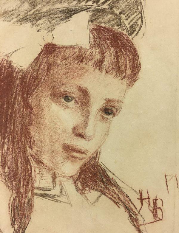Portraits Original Art - Portrait of a Girl, H.B, C.1920
