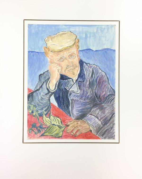 Portraits Original Art - French Watercolor, J. Aguilaume, Dr Gaachet, C.1970
