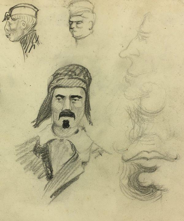 Portraits Original Art - Pencil Drawings, C.1920
