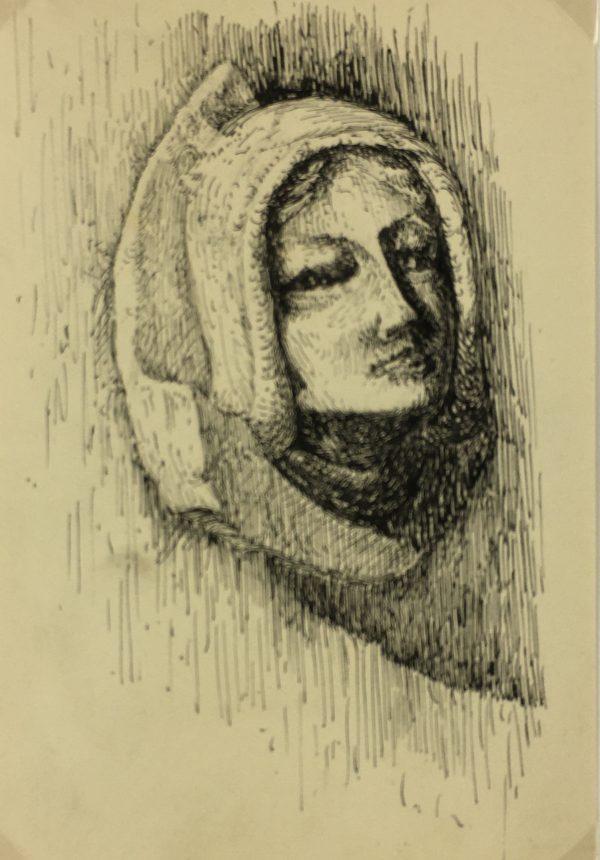 Portraits Original Art - Pen & Ink, C.1950