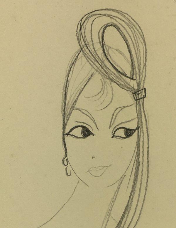 Portraits Original Art - French Hairstyle, C.1960