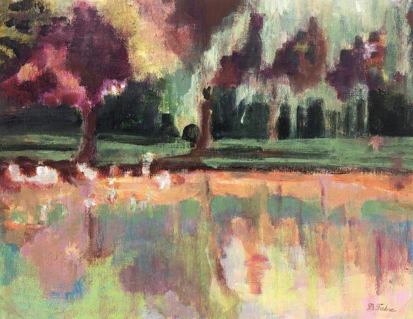 Rivers Original Art - River Reflection, B Fabre, C.1960