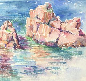 Seascapes Original Art - Rocky Shore, c.1960