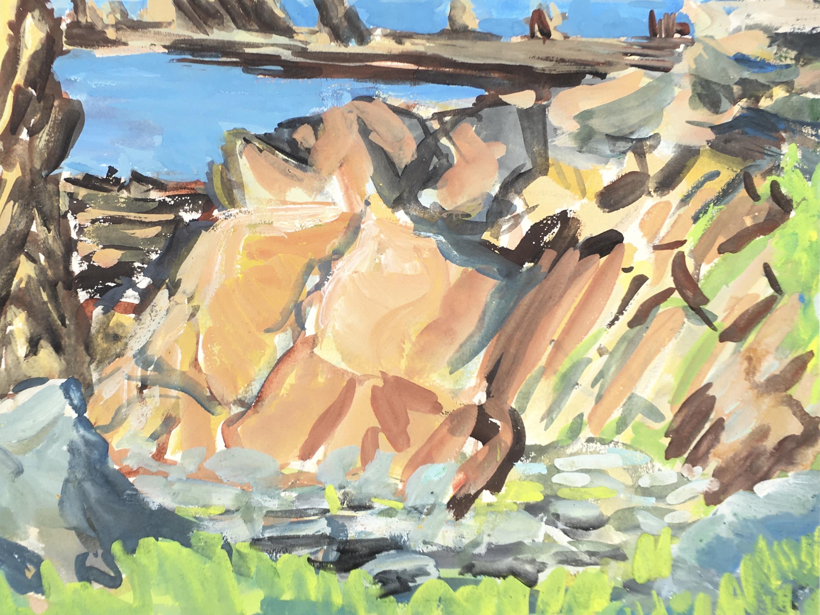Seascapes Original Art - Rocky Coast, c.1950