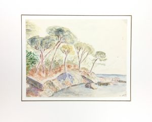 Seascapes Original Art - Seashore, J. Aguillaume, 1978