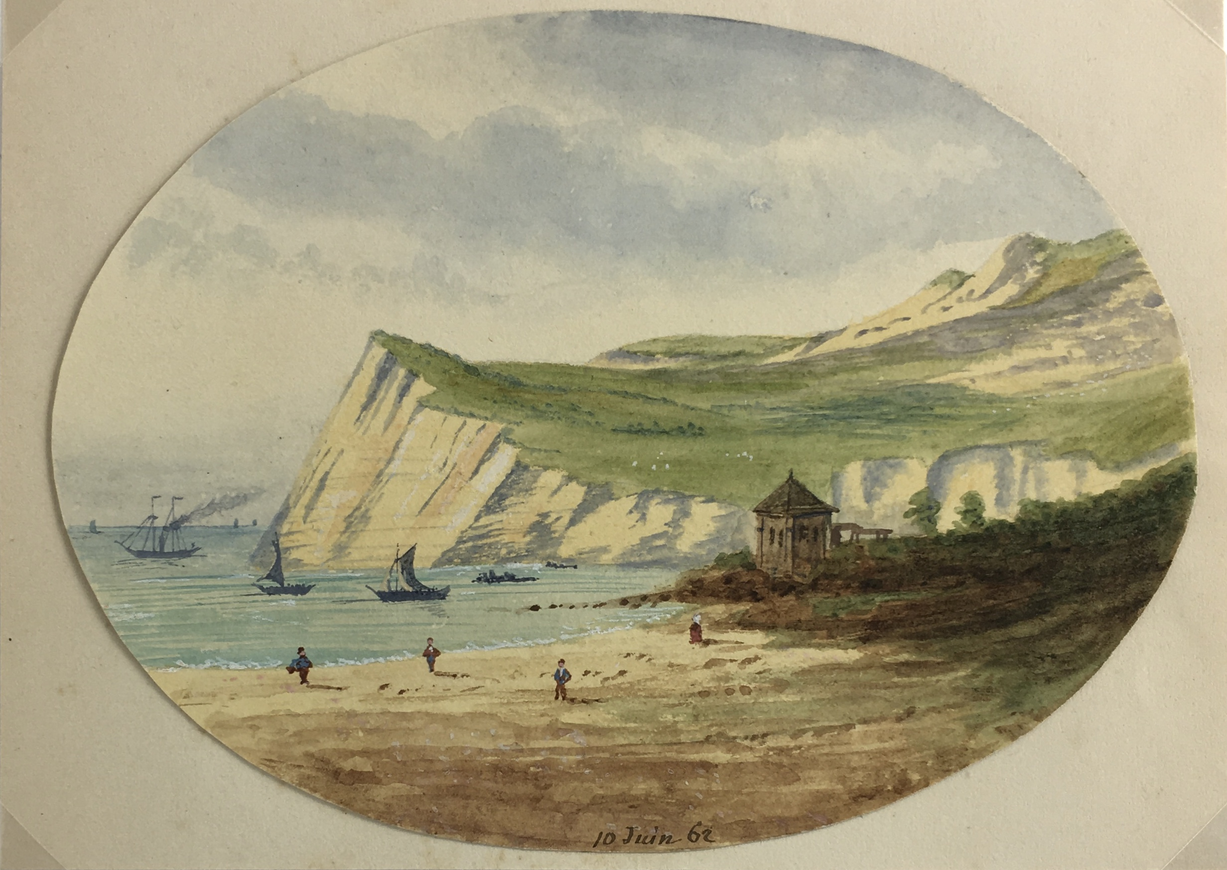 Seascapes Original Art - White Cliffs, 1862