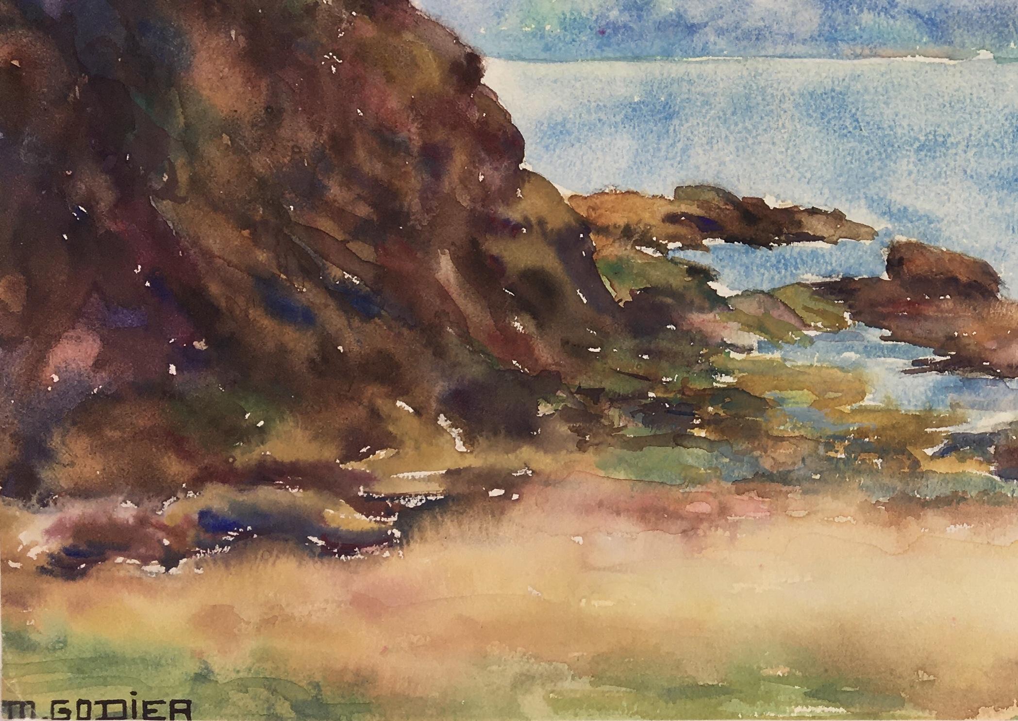 Seascapes Original Art - Quiet Beach, M. Godier, c.1940