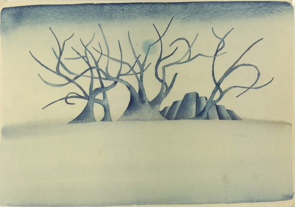 Surreal Modern Original Art - Surreal Treescape, Felon, 1980