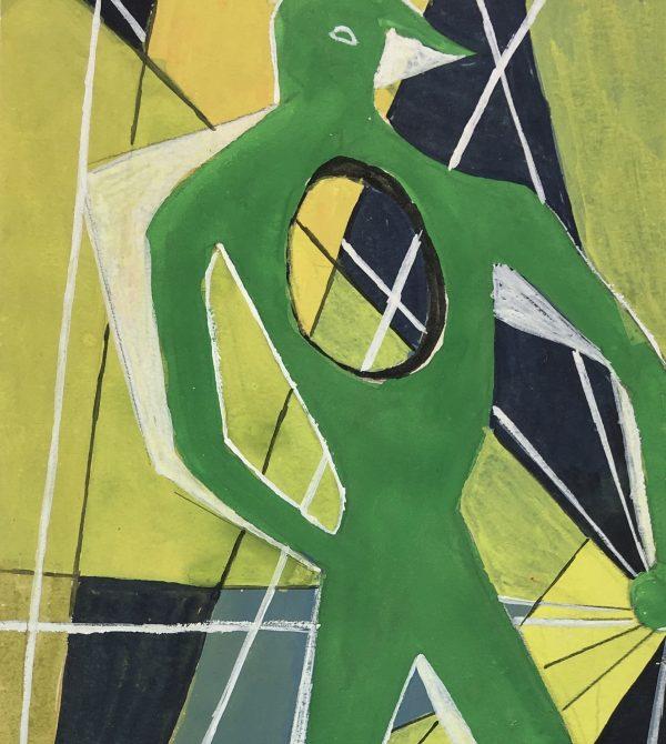 Surreal Modern Original Art - Green Abstract, C.1960