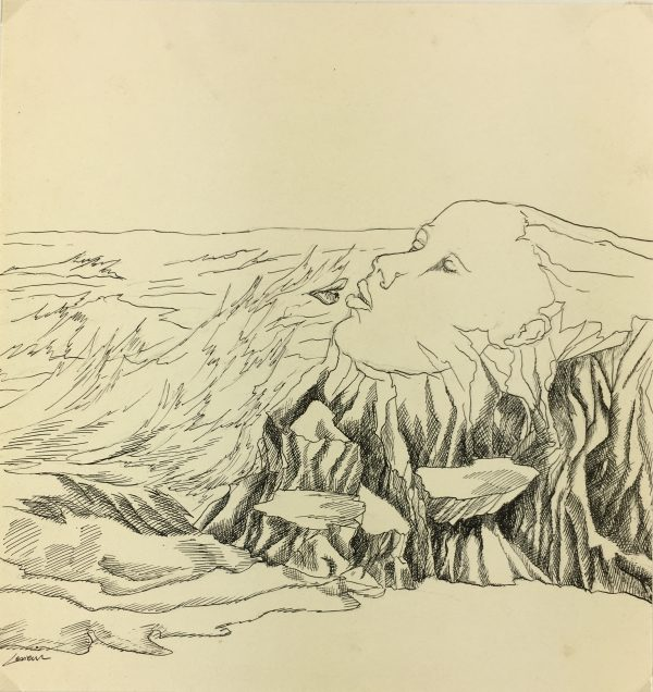 Surreal Modern Original Art - Surreal Landscape, Lessieur, 1980