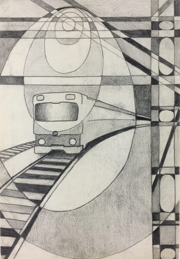 Surreal Modern Original Art - Modern Metro, C.1970