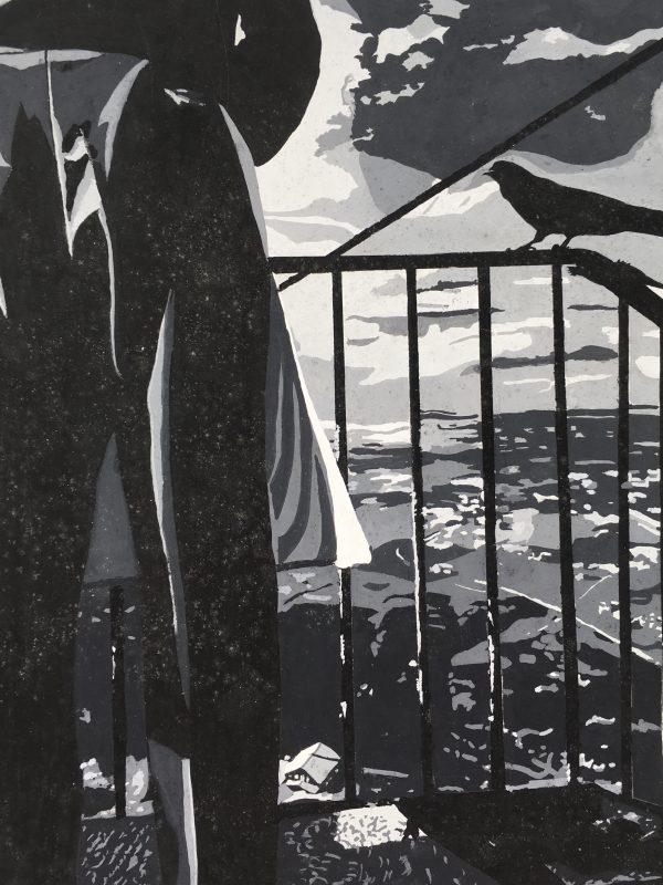 Surreal Modern Original Art - The Crow, 1980