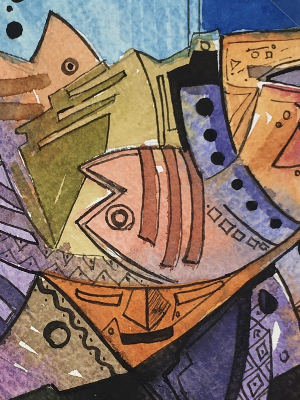 Surreal Modern Original Art - Modern Fish, 2015