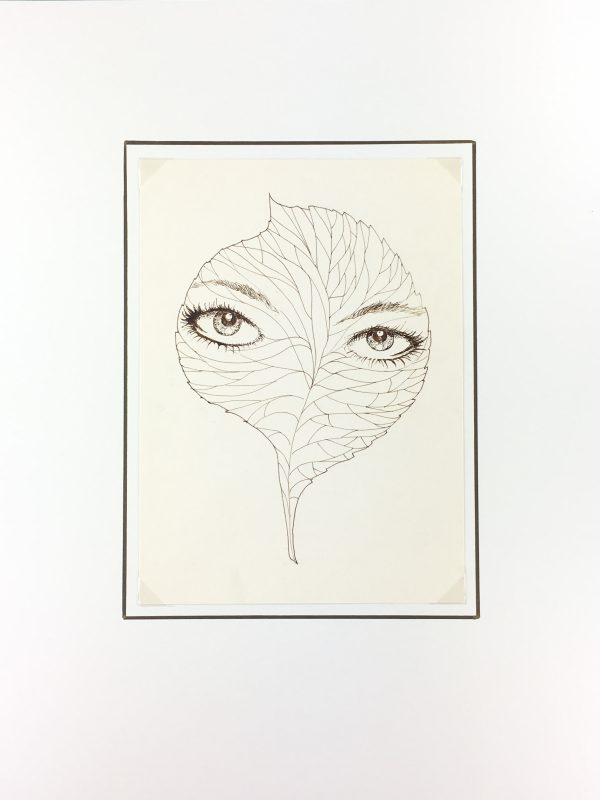 Surreal Modern Original Art - Leaf Eyes , C.1970