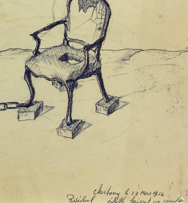 Surreal Modern Original Art - Bending Ladder, 1964