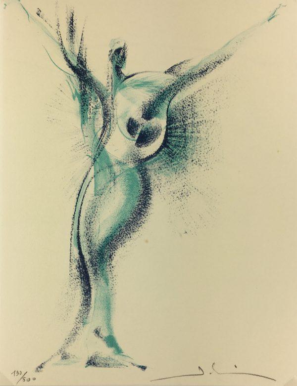 Surreal Modern Original Art - Winged Figure, C1950