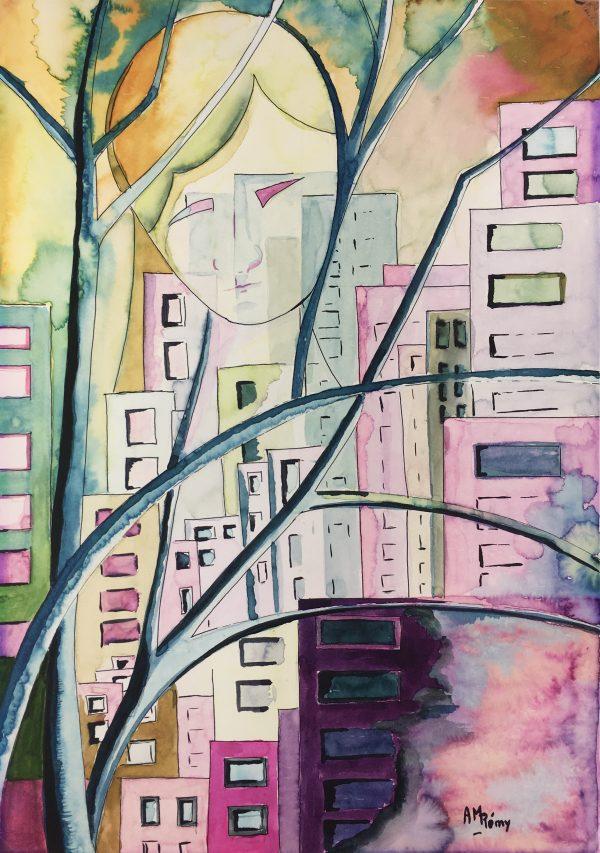 Surreal Modern Original Art - Urban Dreamscape, A.M Remy, 1990