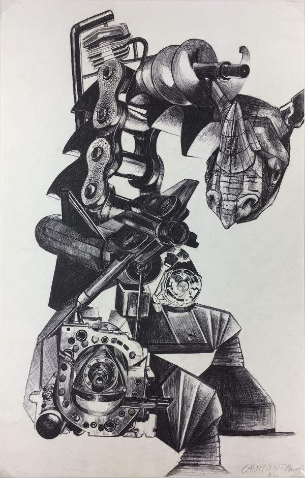 Surreal Modern Original Art - Rhino Machine, Anne Caumont,