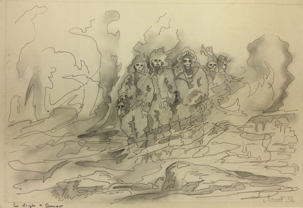 Surreal Modern Original Art - Les Noyes a Ouessant, L. Pirault, 1979