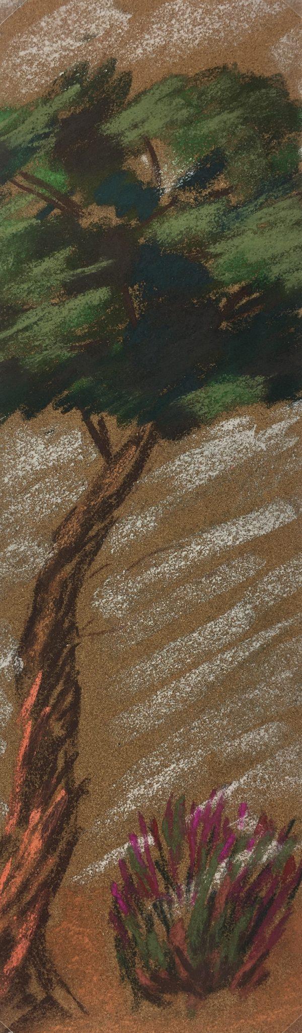 Trees Original Art - Oil Pastel - Ode to a Tree, C.1960