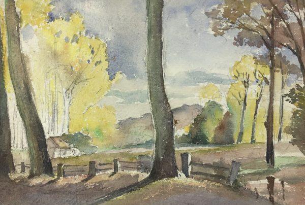 Trees Original Art - Watercolor - Landscape, C.1930