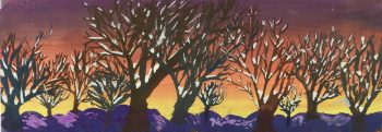 Trees Original Art - Gouache - Winter Spell, C.1950